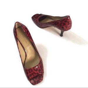 Tahari animal print red riddle peep toe pump 7.5